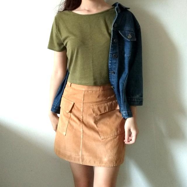 Crop Top + Suede Skirt
