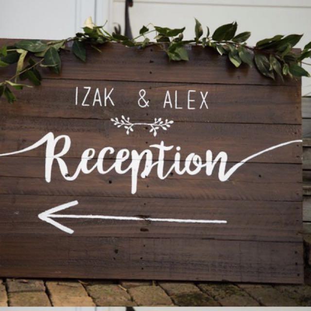 Custom made personalised wedding reception sign