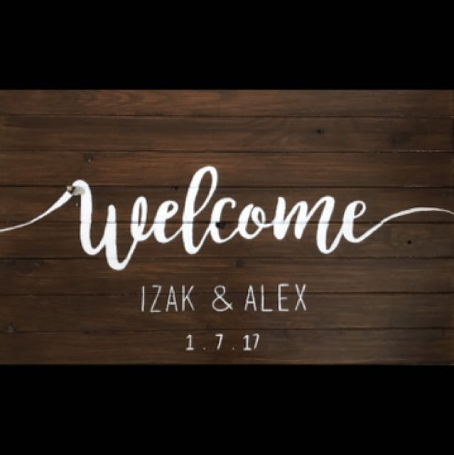 Custom made personalised wedding welcome sign