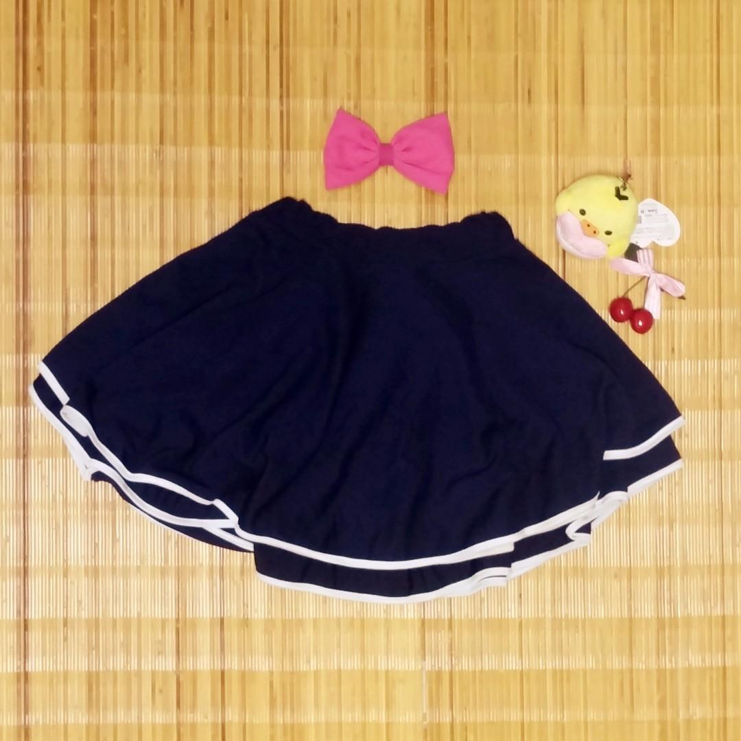 Dark Navy Blue Layered Skirt