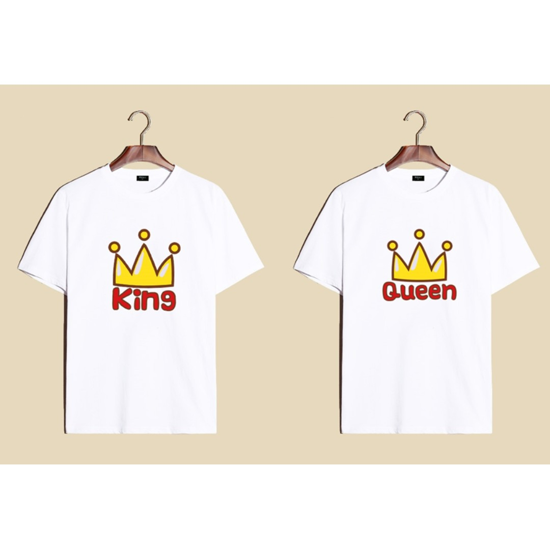 b64156e5abbe2d Diff colors) King Queen Couple T-Shirt - Unisex