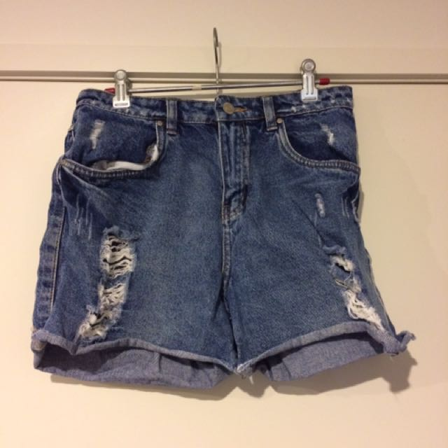 Distressed Boyfriend Style Denim Shorts
