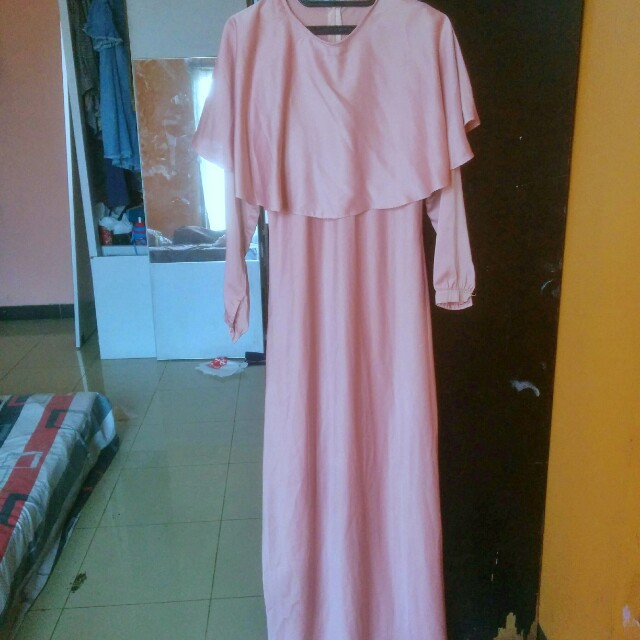 Dress panjang gamis vintage peach pastel