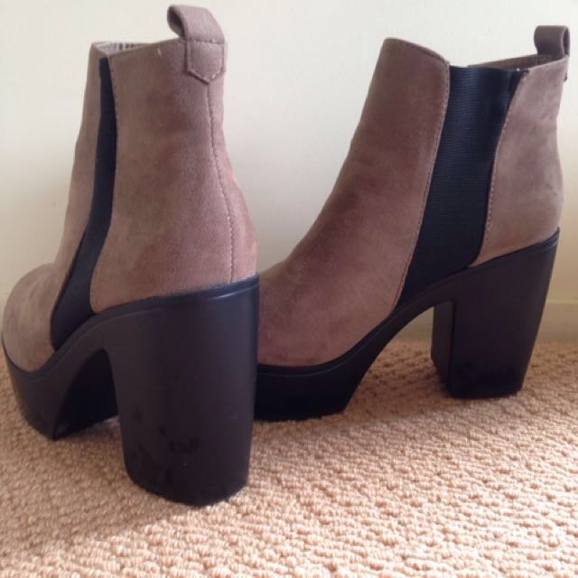 Faux suede chunky boots