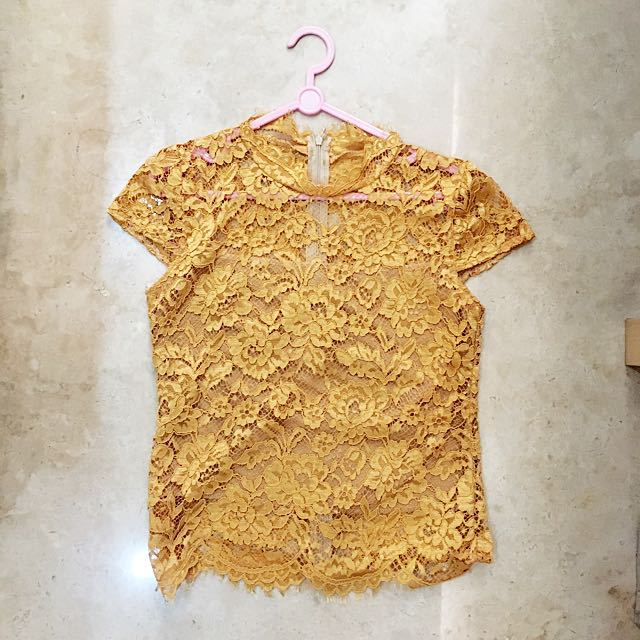 Forever21 hnm zara style lace top yellow