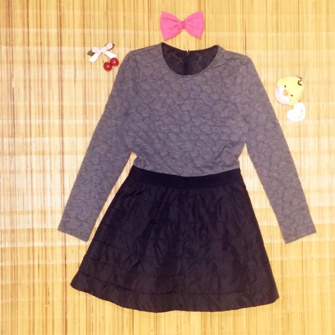 Gray and Black Long Sleeve Dress
