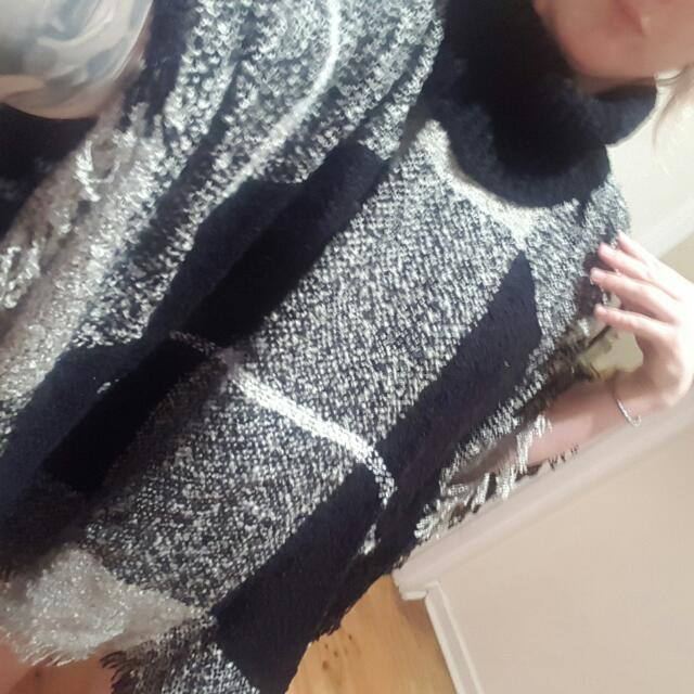 Hand Knit Turtle Neck Poncho