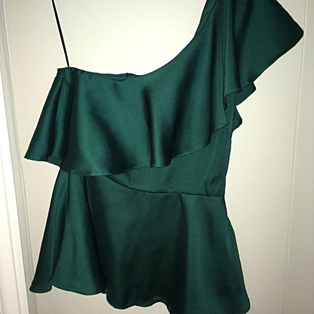 H&M Emerald Green one shoulder top