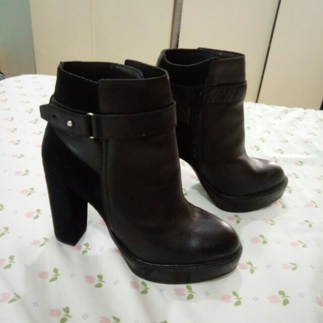 H&M Genuine Leather Boots with Suede Detail Size 37