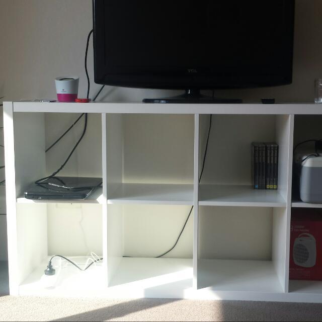 ikea white 8 cube storage shelf