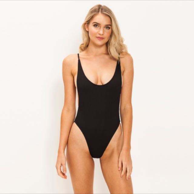 RRP$70 Black Ribbed One Piece Swimsuit