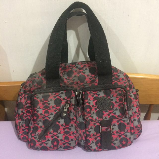 Kipling Pink & Black Skull Shoulder Bag
