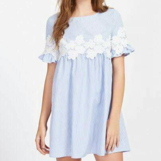 lacey stripe minidress