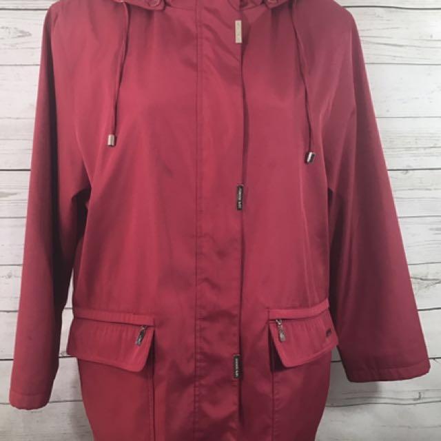 London fog red long coat