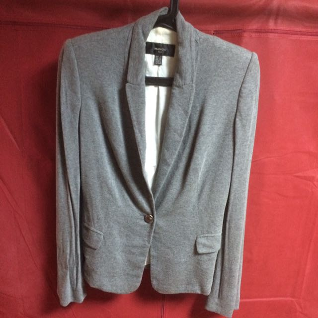 Mango-灰色棉質西裝外套