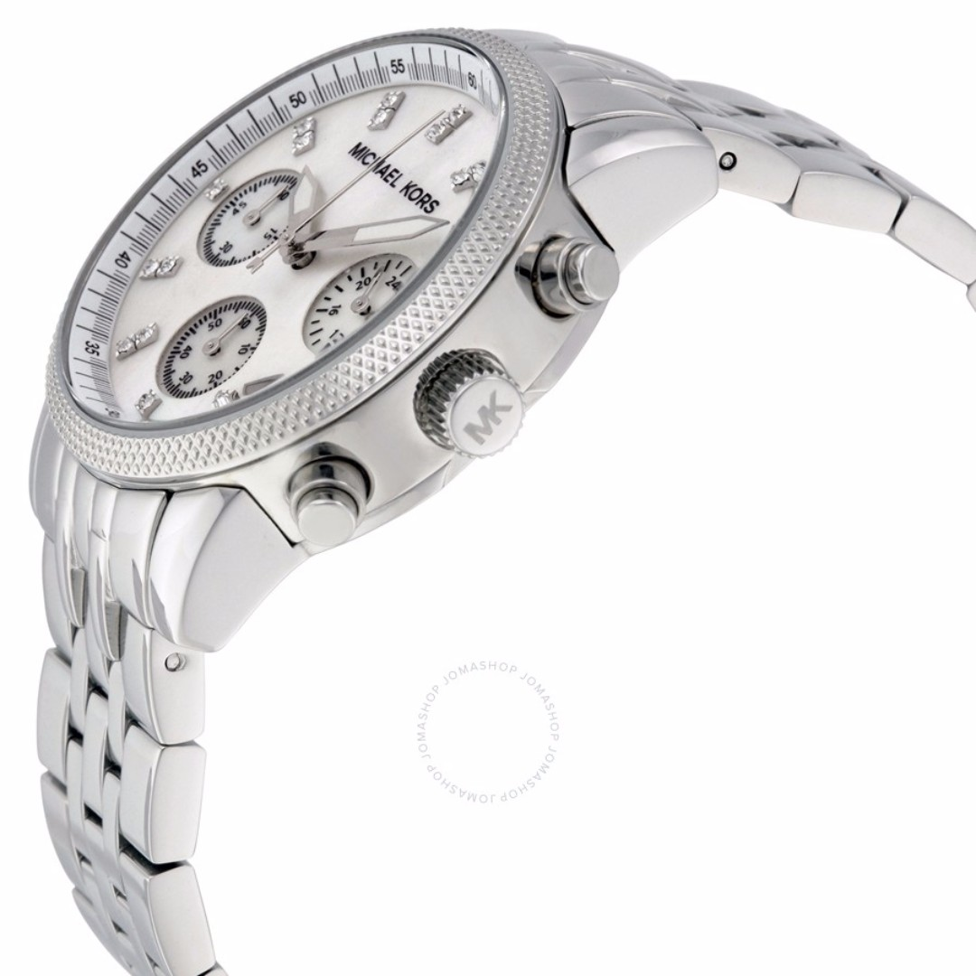 177bf2621f78 MK5020 - MICHAEL KORS RITZ Chronograph White Pearl Dial Silver Tone Women s  Watch