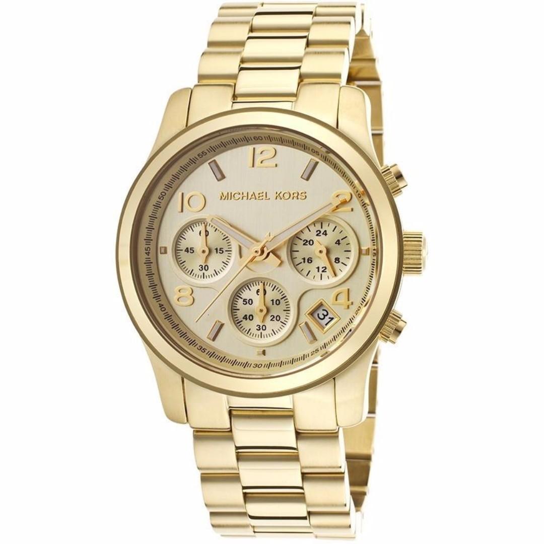 MK5055 - Michael Kors Women's Chronograph Runway Gold-Tone St Steel Bracelet Watch