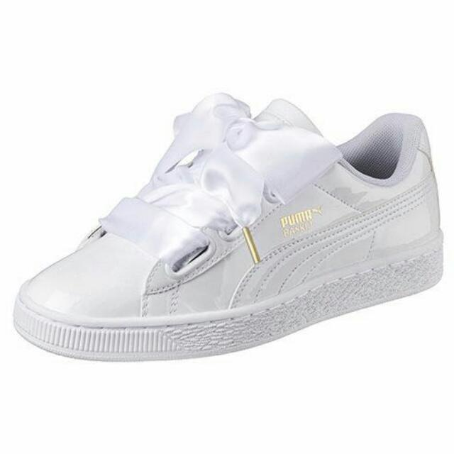 hot sale online 31a80 2bce0 Puma Fenty Ribbon Sneakers in White (Patent Leather)