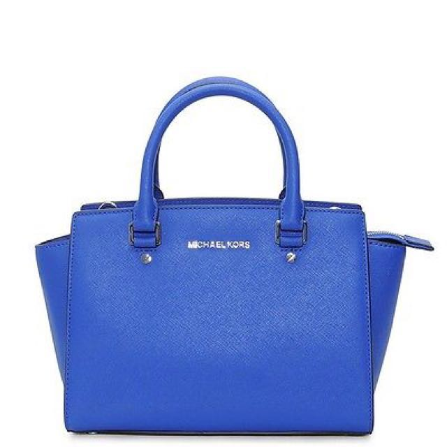 NWT Michael Kors Medium Selma Saffiano Leather Handbag Heritage Blue