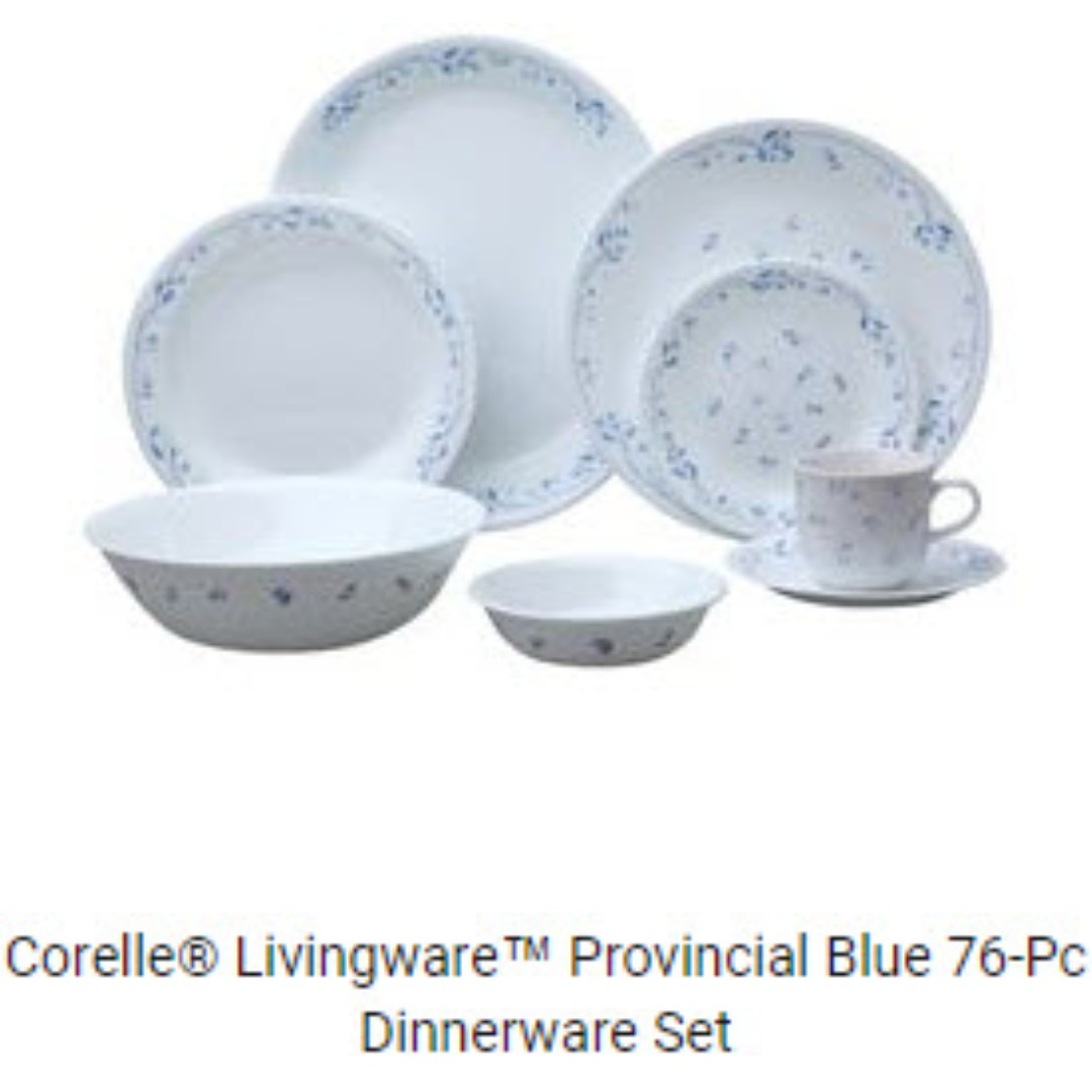 photo photo photo  sc 1 st  Carousell & OCT 2017 NEW Corelle Livingware 76-Piece Provincial Blue Dinnerware ...