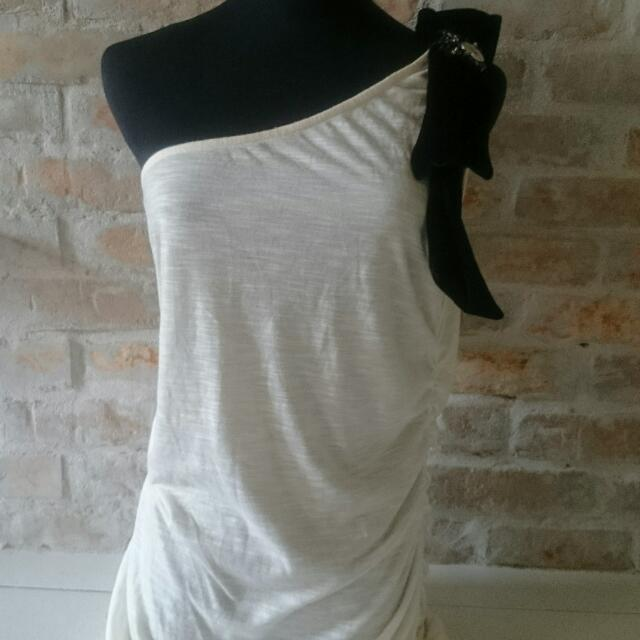 One Arm Cream White Party Dress
