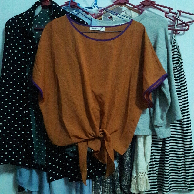 orange tied top
