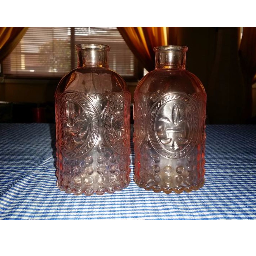 Pink Glass bottles/holder