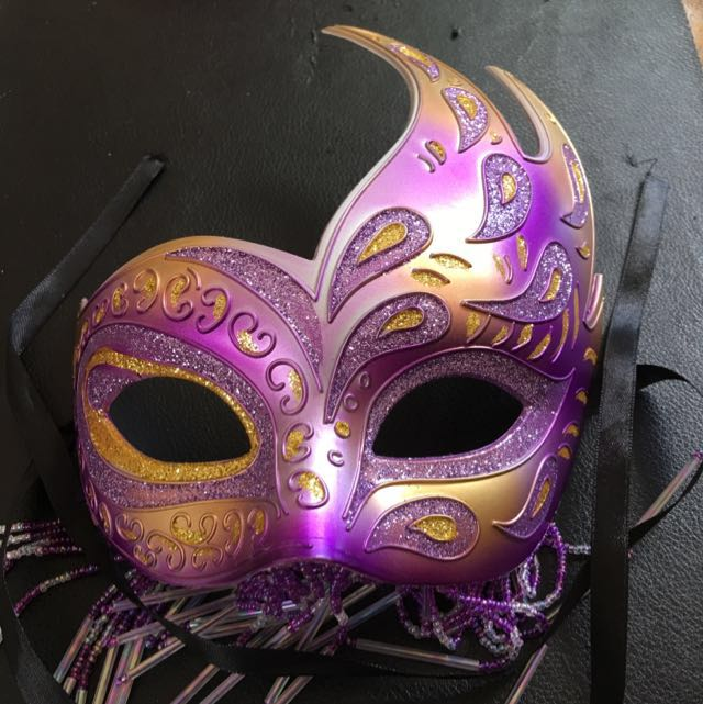 Purple and Gold Beaded Mask