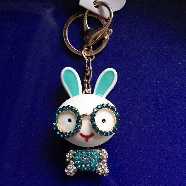 Rabbit Rhinestone Plated Keychain Keyring Brand New