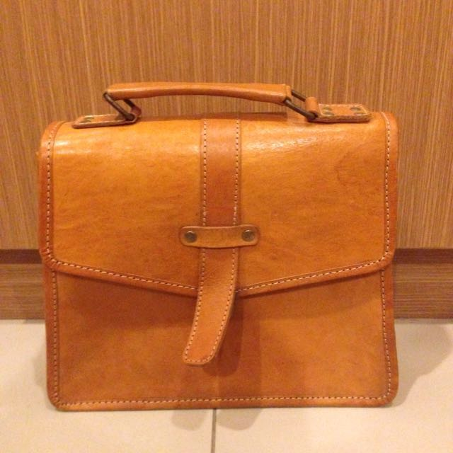 Real Leather Messenger Sling Bag