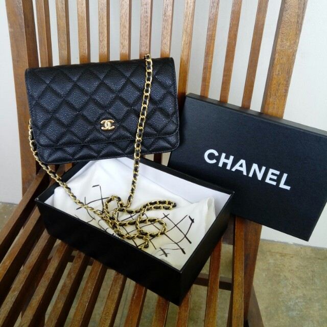 REPLICA Chanel Wallet on Chain Caviar Leather