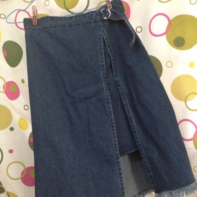 REPRICED! Long Denim Double Skirt