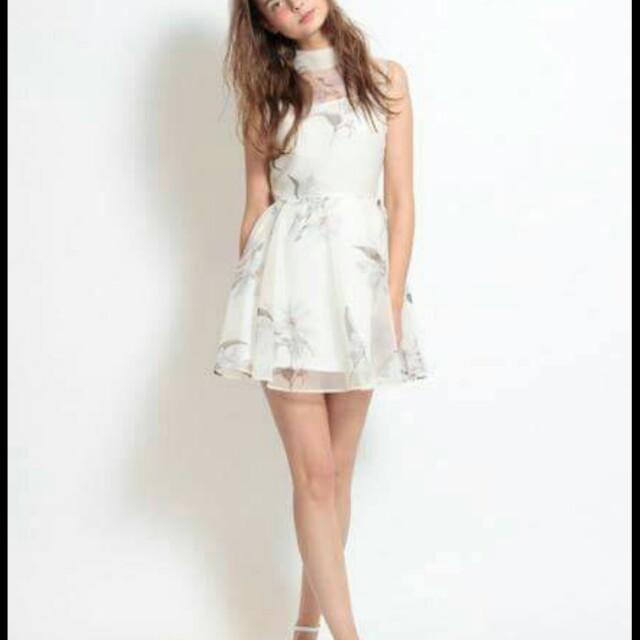 全新正品Snidel年度款水彩花柄感柔紗洋裝