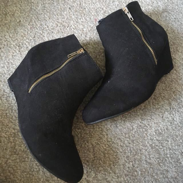 suede heeled ankle boots with gold hardware, women's size 10