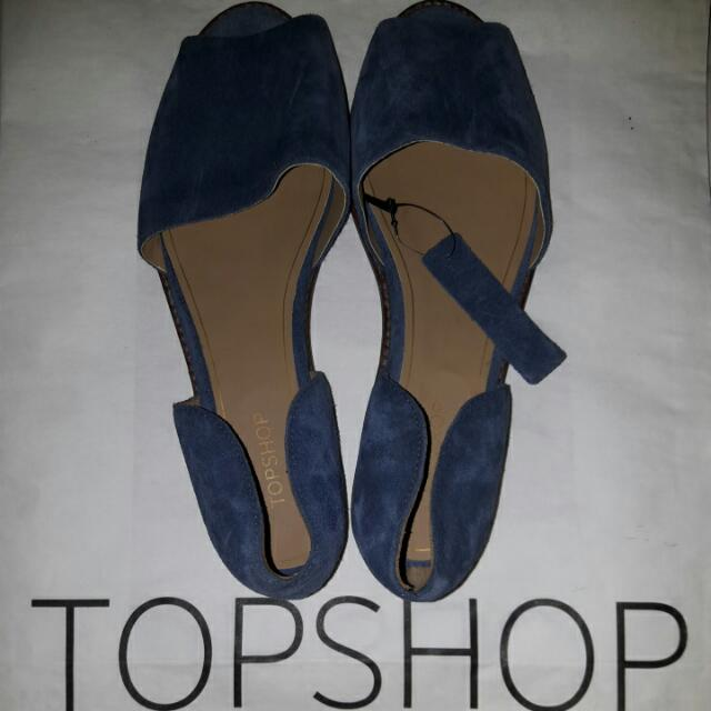 REPRICED! Topshop Blue Leather Slip-Ons