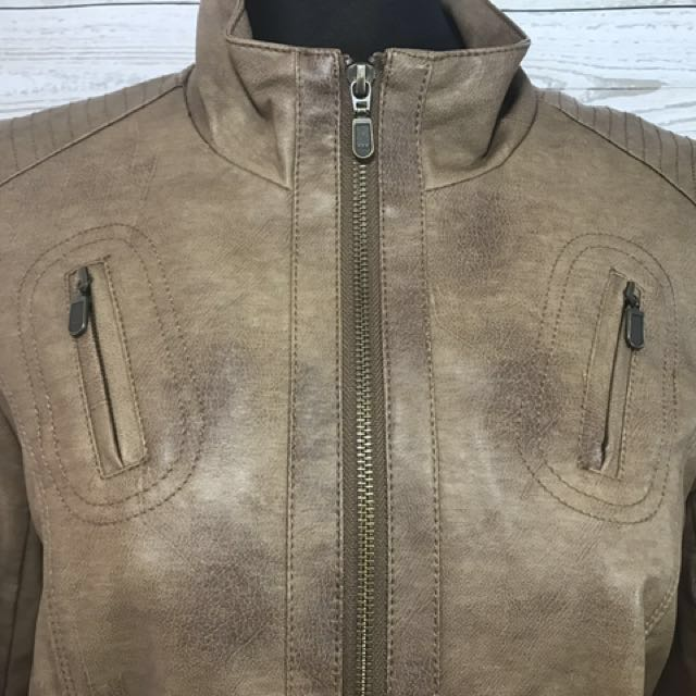 Tribal brown leather jacket small