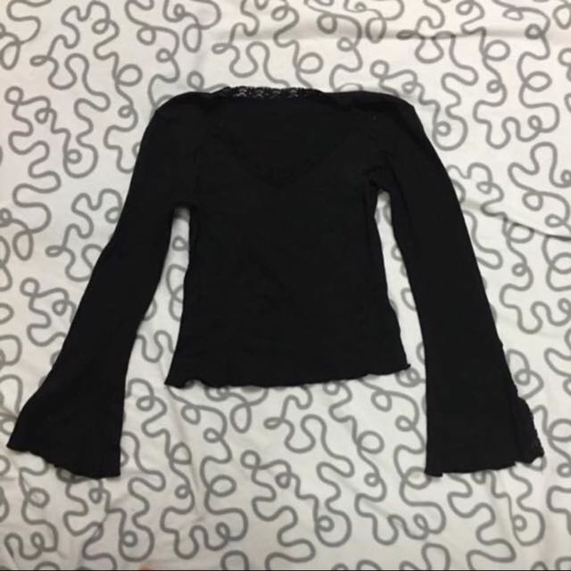 Vintage Black Long Sleeve Flared Top With Lace Detail