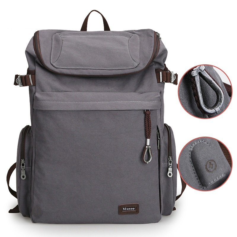 b828ec68bbe Vintage USB Backpack Large Capacity For Travelers Campers Luggage ...