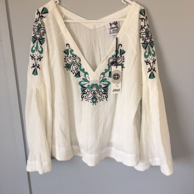 Womens Jaase Flare Sleeve M Boho Gypsy Blouse Top BNWT RRP$129