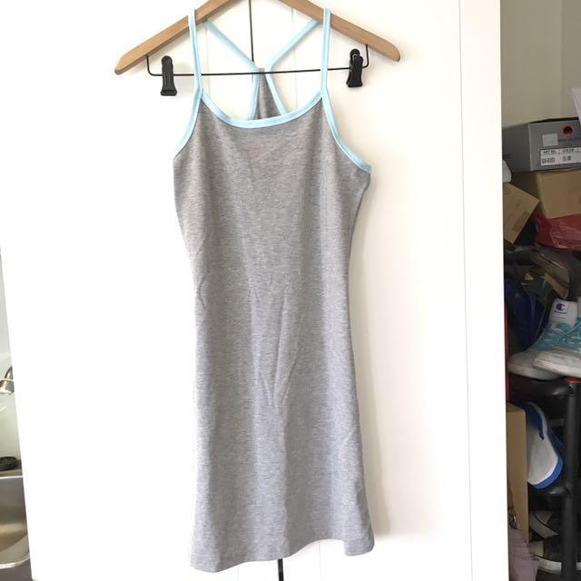 淺灰x水藍配色連身睡衣 洋裝
