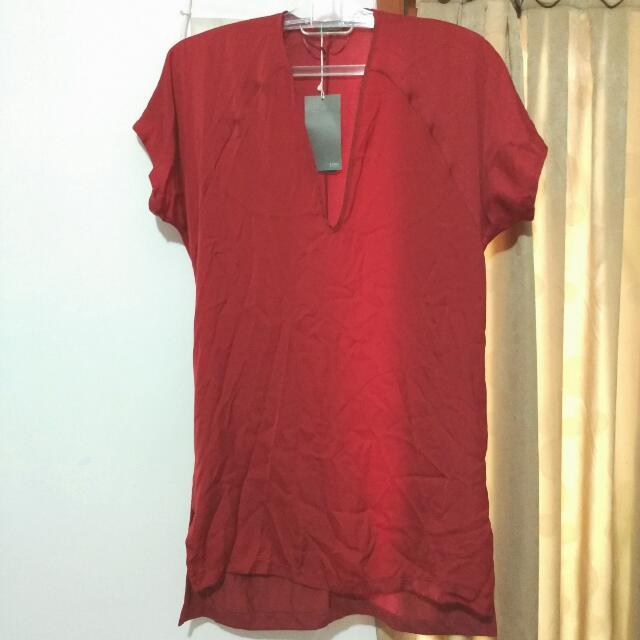 ZARA TUNIC Maroon Red Sateen Silk / Red Dress / Red Top SALE