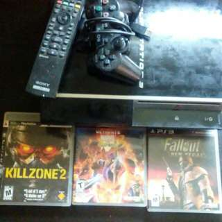 Ps3 with 3 games and one controller