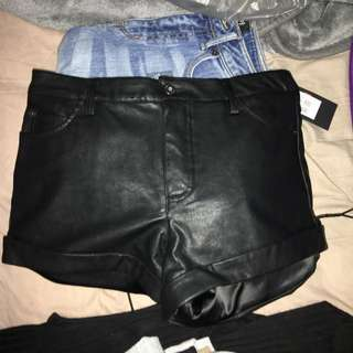 Leather Bardot Shorts