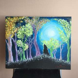 Dog howling under the moon painting