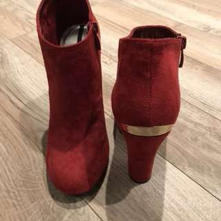 Red Booties with Gold Trim Heel