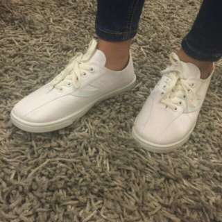 white with design canvass shoes