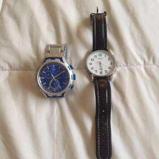 Swiss (Blue, Aluminium) And Casio Watch (White)