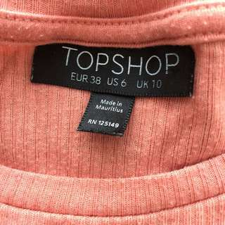 Topshop Coral Long Sleeve Crop Top