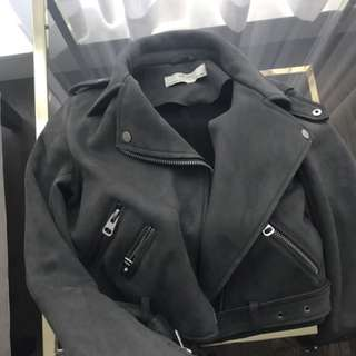 Zara vegan suede leather jacket