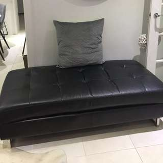 Leather look chaise